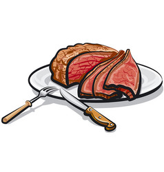 Roast beef meat vector