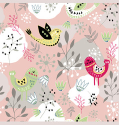scandinavian folk art bird pattern design vector image