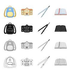 school backpack college building compasses open vector image