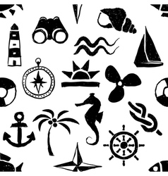 seamless doodle marine pattern vector image