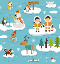 seamless pattern with eskimos and animals vector image