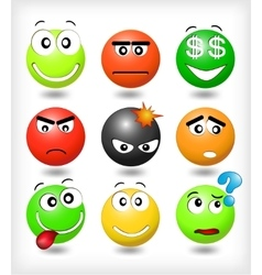 Set smiles with different expression of emotions vector