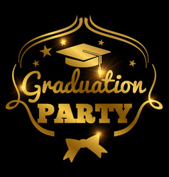 Shining golden graduation party banner background vector