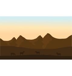 Silhouette of zebra in desert vector
