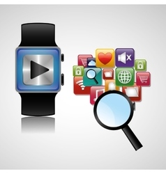 Smart watch wearable technology searching play vector