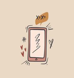 smartphone addiction concept cartoon flat art vector image
