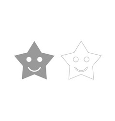 smiling star grey set icon vector image