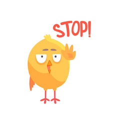 Stop funny cartoon comic chicken showing hand vector