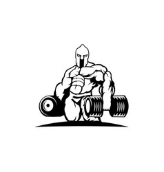 Strong spartan athlete with dumbbell vector