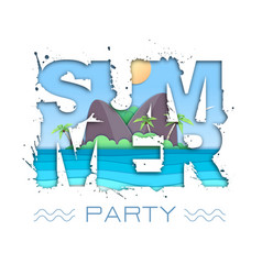 Summer party typography poster with beach vector