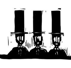Three men in Top Hats vector image