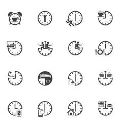 Time icon set daily routine vector