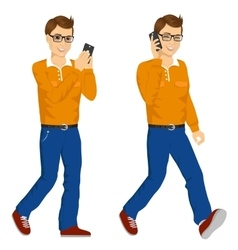 Two happy young men walking with smartphone vector