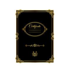 vintage golden frame certificate template vector image
