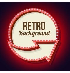 Volume retro circle with an arrow and light bulbs vector