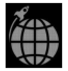 white halftone planet satellite launch icon vector image