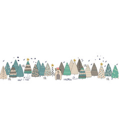 winter forest christmas seamless background with vector image