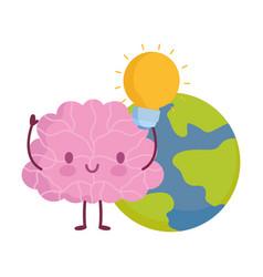 world mental health day cartoon brain planet bulb vector image