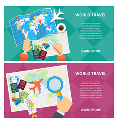 world travel two banners vector image
