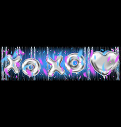 xoxo metallic ballons lettering in disco trend vector image