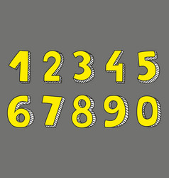 Yellow numbers isolated on grey background vector