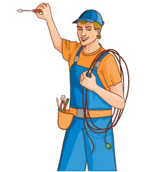 Young cheerful electrician vector