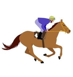jockey riding race horse 3 vector image