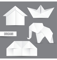 Origami set House ship and elephant vector image vector image