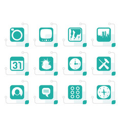 stylized mobile phone and computer icon vector image vector image