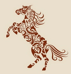 Horse floral ornament vector image vector image