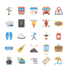 Outdoor travel and camping flat icons vector