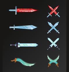 Set of cartoon fantasy and epic swords vector