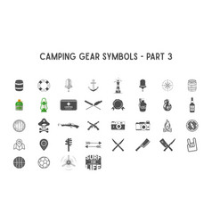 set of silhouette icons and shapes with vector image