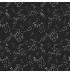 Tattoo machines and ink pattern Black vector image vector image