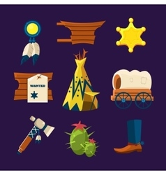 Wild West Cowboy Flat Icons vector image vector image