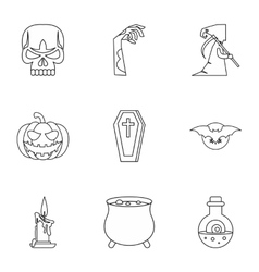 All saints day icons set outline style vector