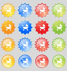 Baby Stroller icon sign Big set of 16 colorful vector image