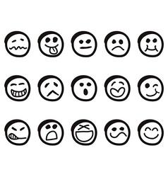 doodle cartoon smiley faces vector image