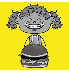 girl burger food vector image