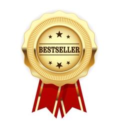 Golden medal bestseller with red ribbon vector