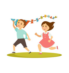 kids playing with kite toy cartoon boy and vector image vector image