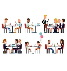 People eating and talking in restaurant or coffee vector