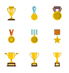 sport awards icons set flat style vector image