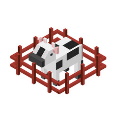 Cow with fence isometric isolated icon vector