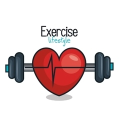 exercise lifestyle barbell heartrate design vector image