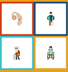flat icon cripple set of disabled person injured vector image