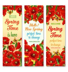 Hello spring flower greeting banner set design vector