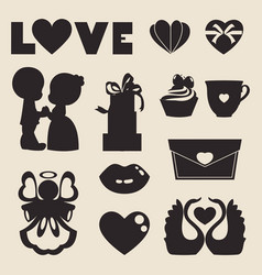 Icons of love symbol for valentine day vector
