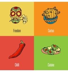 Mexican national symbols icons set vector