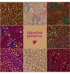 Set of eight colorful floral patterns vector image vector image